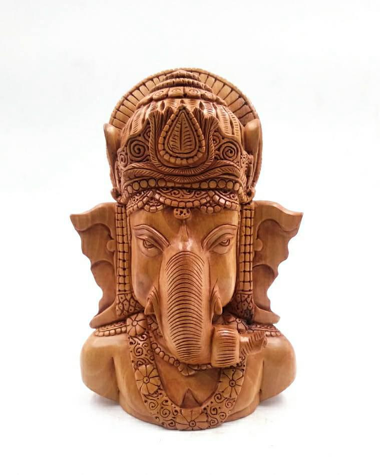 """6"""" LORD GANESHA BUST SCULPTURE WITH EXCLUSIVE WOOD CARVING"""