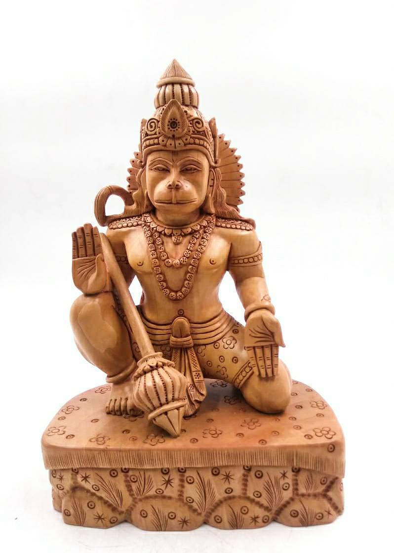 """8"""" LORD HANUMAN SITTING SCULPTURE WITH FINE WOOD CARVING SPECIAL"""