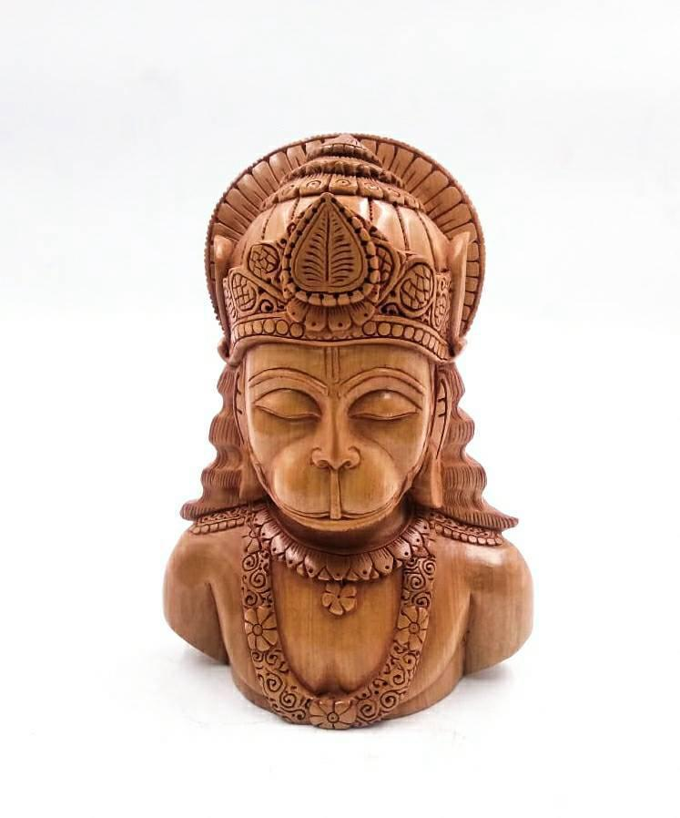 """6"""" LORD HANUMAN BUST SCULPTURE WITH FINE WOOD CARVING SPECIAL"""