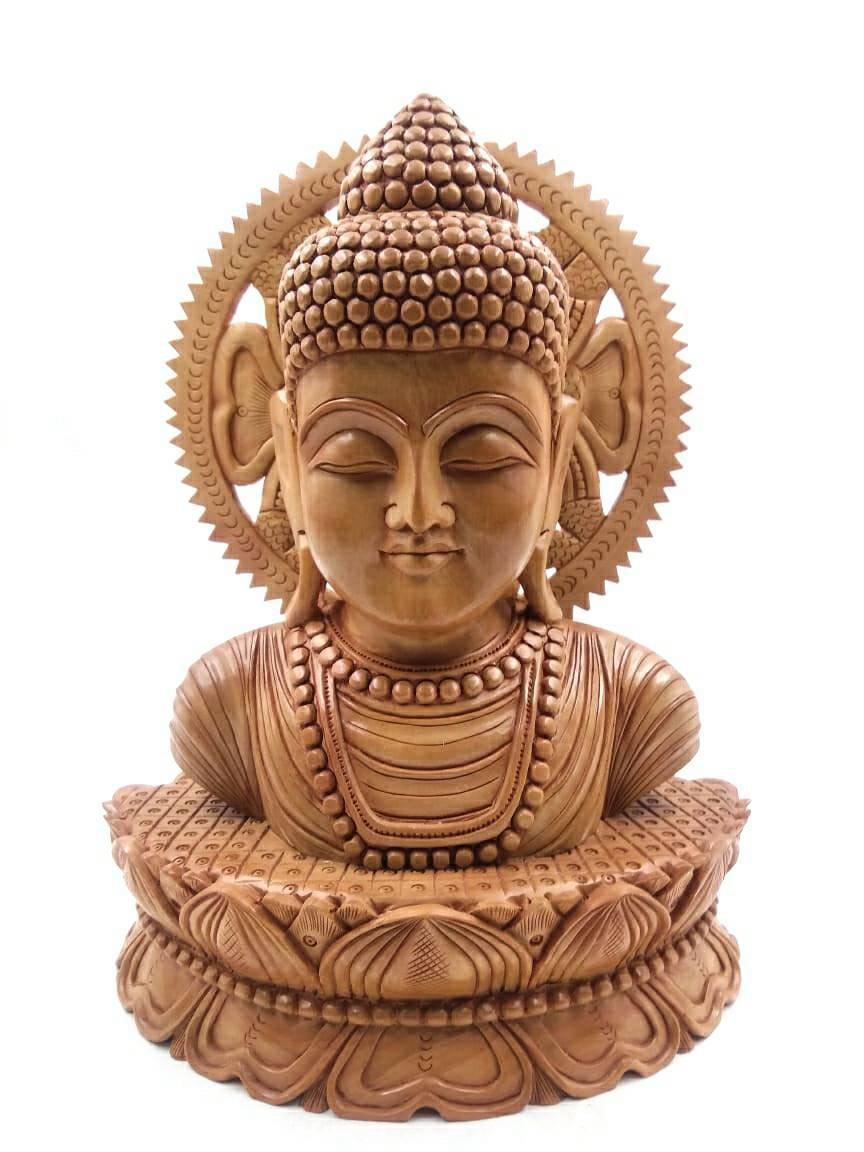 """8"""" LORD BUDDHA BUST MEDITATING SCULPTURE WITH FINE WOOD CARVING SPECIAL"""