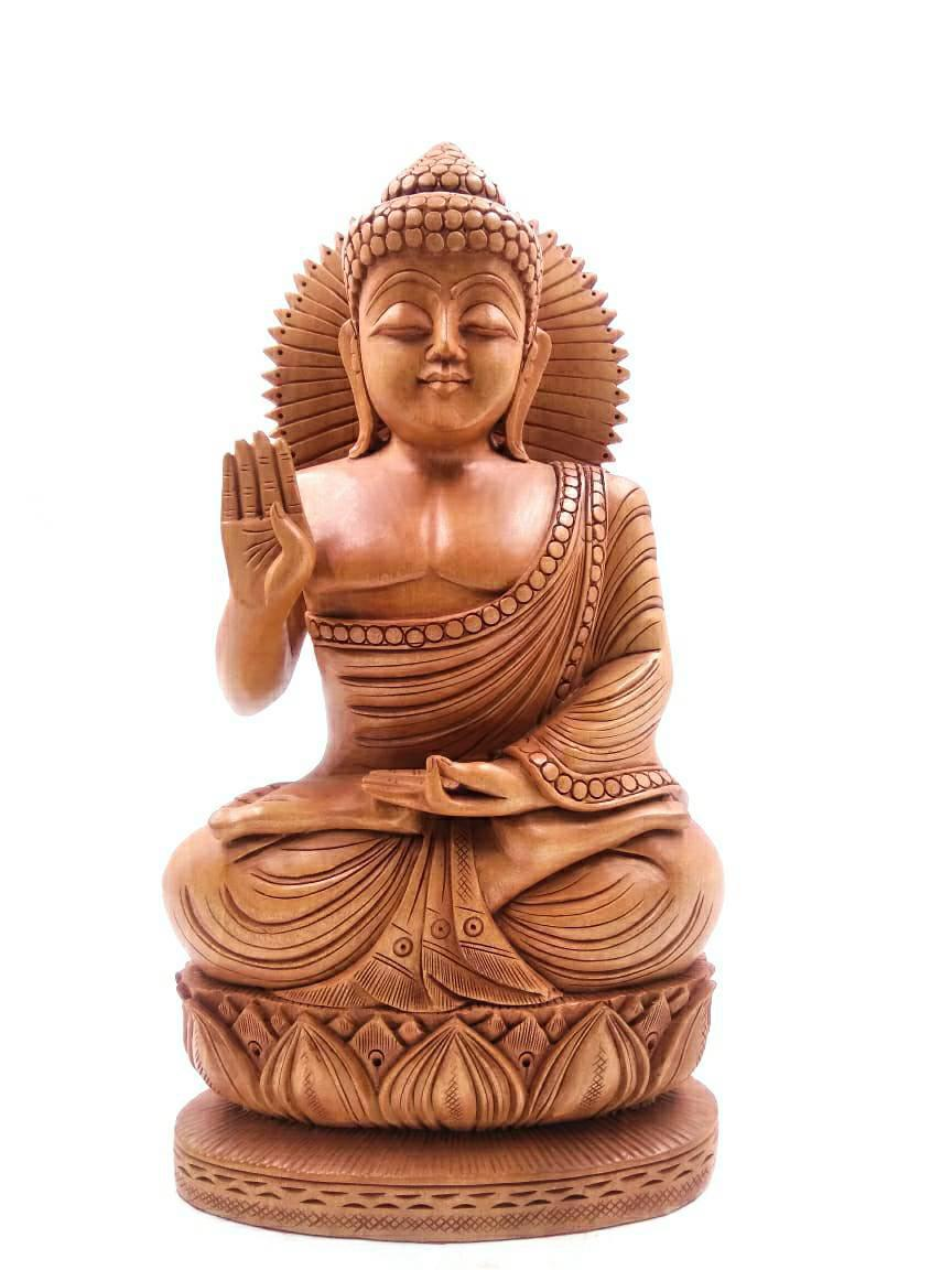 """8"""" LORD BUDDHA MEDITATING SCULPTURE WITH FINE WOOD CARVING SPECIAL"""
