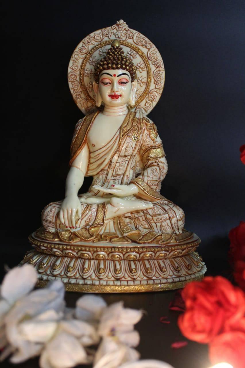 "10""LORD BUDDHA MEDITATING STATUE SITTING FINE GOLD PAINTING"