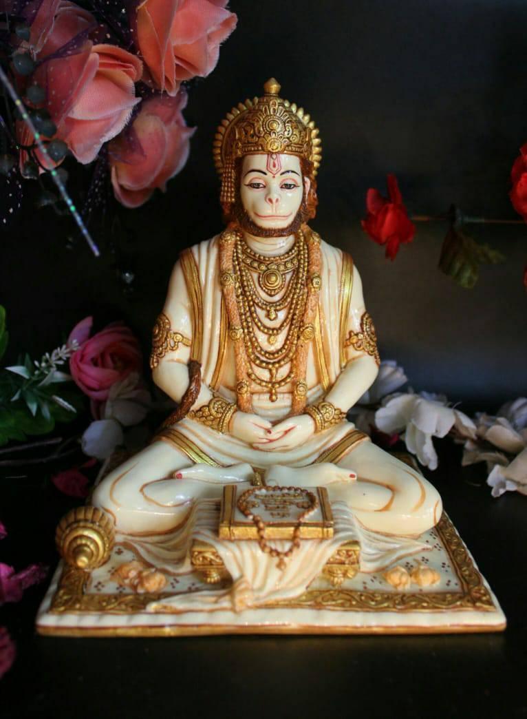 "8"" LORD HANUMAN MEDITATING SITTING STATUE WITH FINE PAINTING"