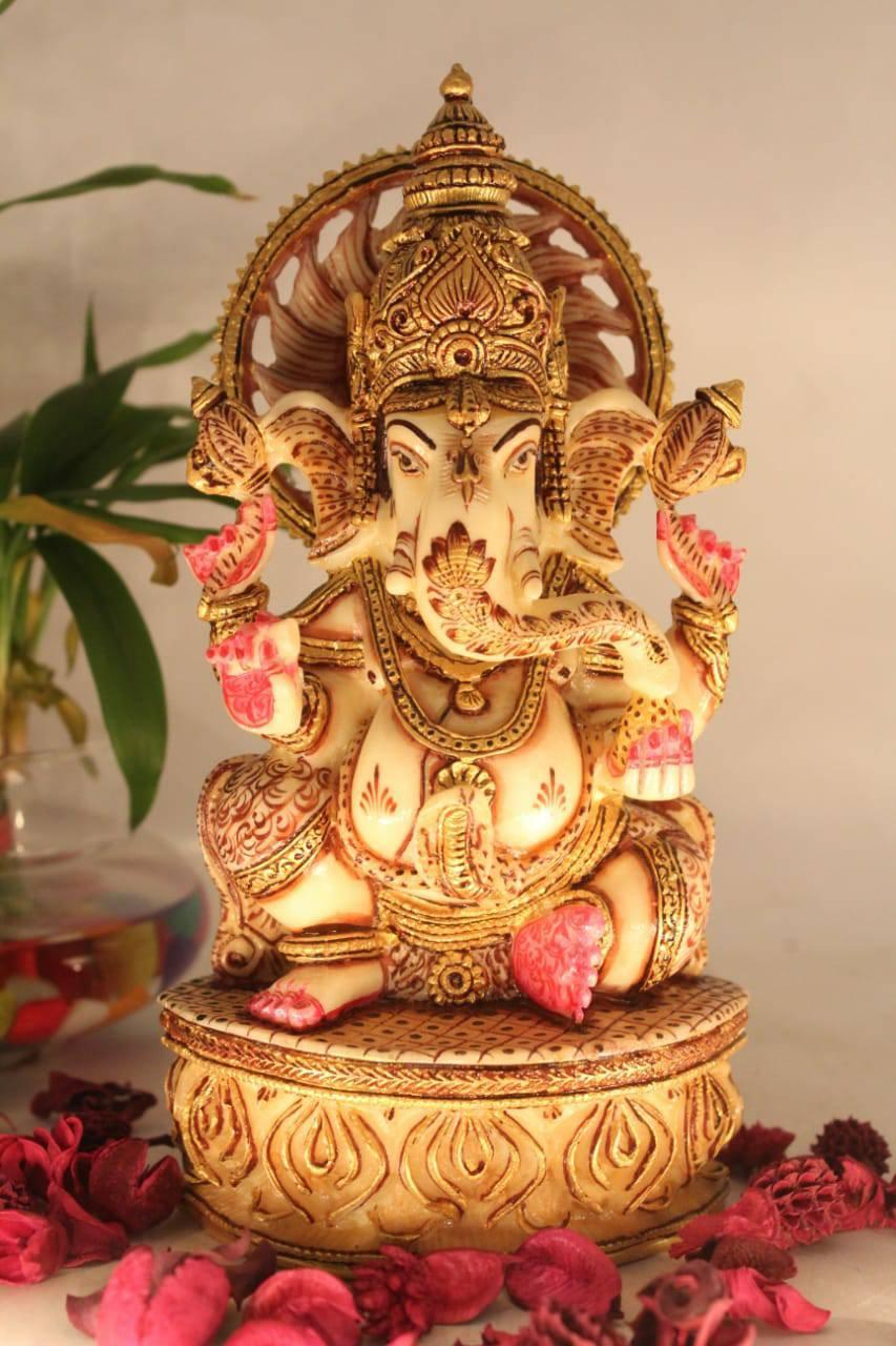 """8"""" LORD GANESHA SCULPTURE SITTING  MARBLE STYLE PAINTING"""