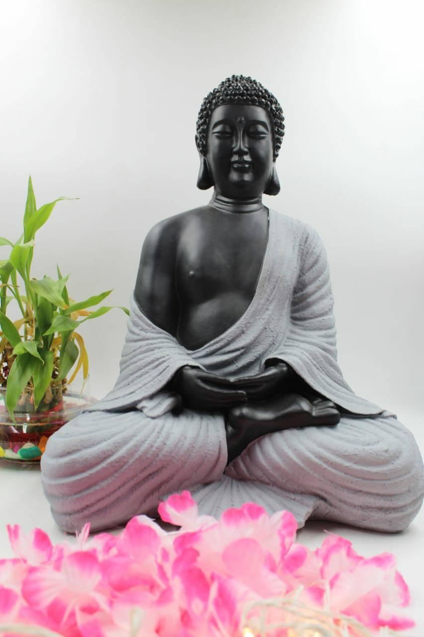 "15"" MEDITATING BUDDHA STATUE SITTING STONE FINISH"