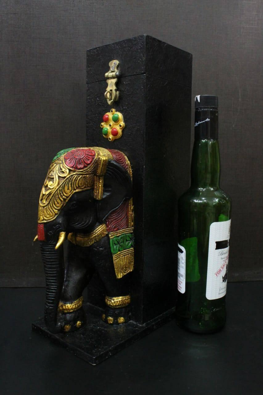 "18"" LUXURIOUS WOODEN LIQUOR BOX ELEPHANT FACE BAR DECOR"