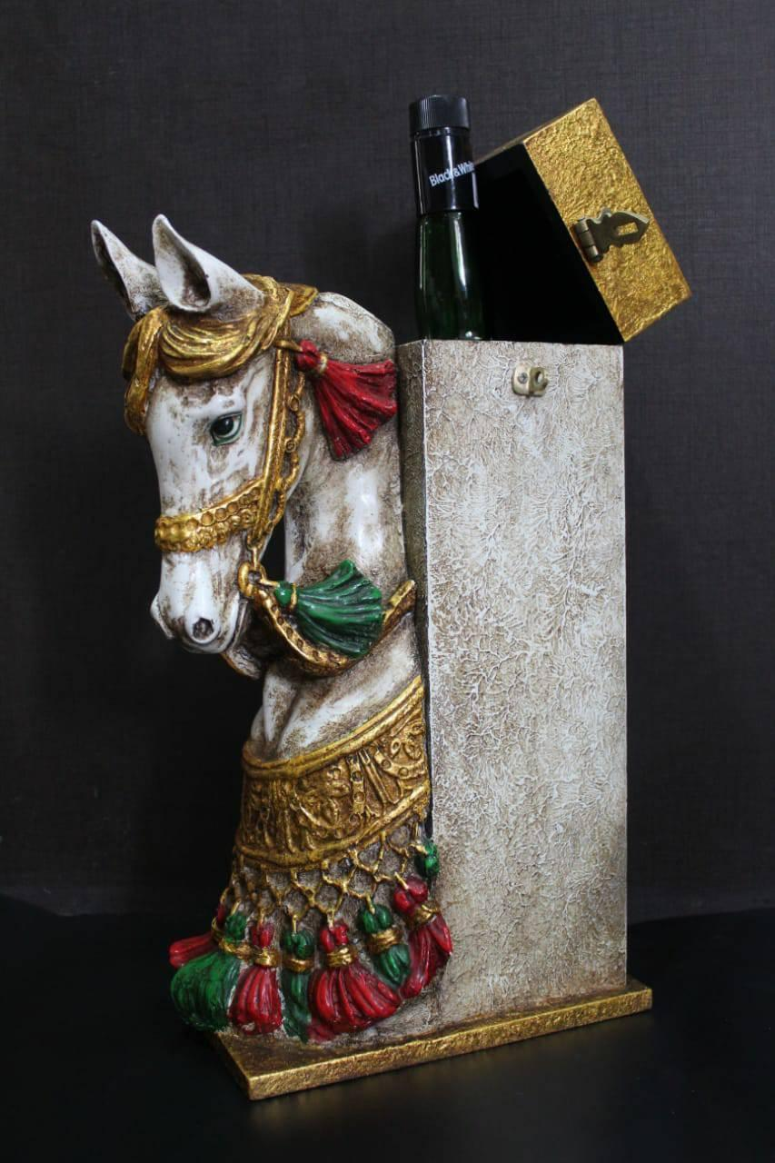 "18"" LUXURIOUS WOODEN LIQUOR BOX HORSE FACE BAR DECOR"