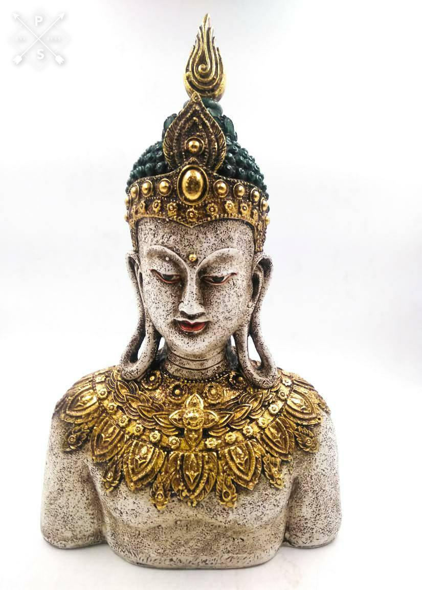 """12"""" BUDDHA THINKING BUST STATUE PAINTING PEACE SCULPTURE"""