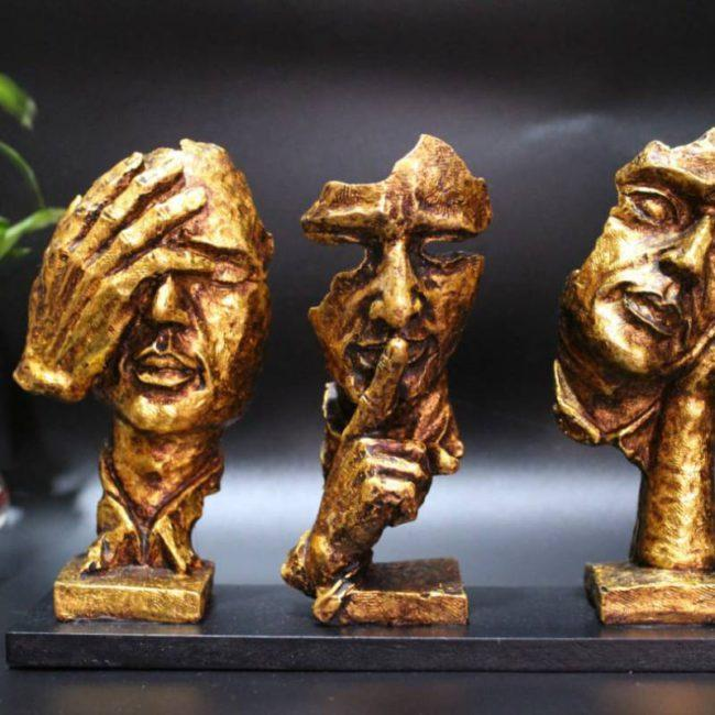 """8"""" SET OF THREE MODERN HUMAN FACES ABSTRACT SCULPTURE"""